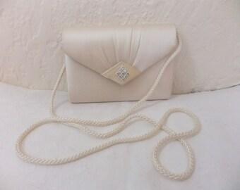 Vintage Evening Bag Purse Clutch Wedding Ivory Satin with Rhinestones Retro Formal Prom