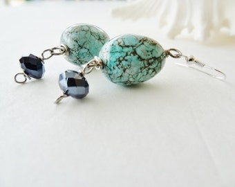Robin's Egg Authentic Turquoise Earrings with a Black Crystal on Sterling for Sensitive Ears #T4