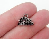 BULK 50 I love to cheer charms antique silver tone SP91
