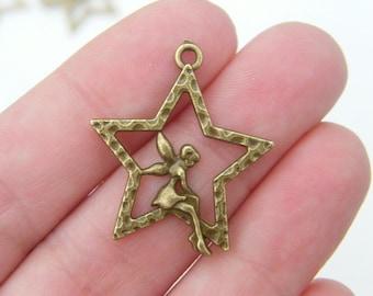 8 Fairy pendants antique bronze tone BC43