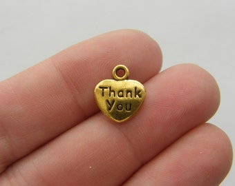 8 Thank you heart charms antique gold tone GC1