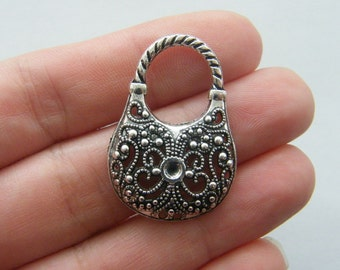 4 Handbag pendants antique silver tone CA229