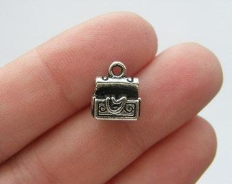 BULK 50 Treasure chest charms antique silver tone P161
