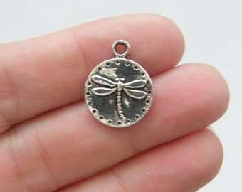 BULK 50 Dragonfly charms antique silver tone D23