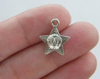 12 Star charms antique silver tone S35