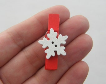 10 Snowflake Christmas  wooden pegs 35 x 7mm - SALE 50% OFF