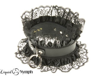 RHEA Feminine Bondage Matte Black Leather Satin Ruffle Lace Trim Dominatrix Gothic Lolita Choker - Leather Slave Collar Valentine's day Gift