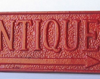 Cast Iron Rustic Antique Sign/ Home Decor/ Wall Decor Plaque Painted  in Red