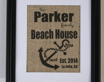 Free US Shipping...Personalized Beach or Lake House with Anchor Burlap Print...great coastal decor, housewarming gift!