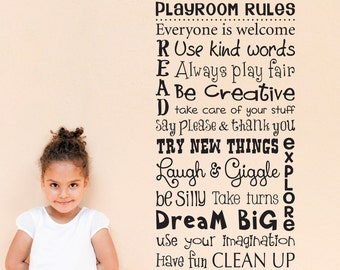 Playroom Rules Wall Decal - Children Wall Decal Art - Rules Wall Sticker - Vertical Large