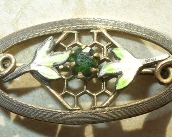 Antique enameled & green stone gold plated brass brooch - vintage costume jewelry