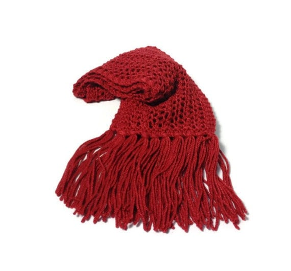 Christmas Gift, Crimson Red Scarf, Knit Scarf, Hand Knit Scarf, Silk Scarf, Fiber Art, Lacy Scarf, Gift For Her, Women Scarf, Fashion Scarf