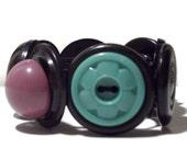 Vintage Button Bracelet in Black Green and Purple