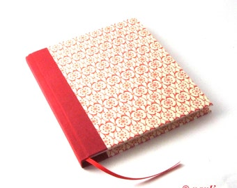red Diary / square Notebook / blank Poetry Album / journal - Dutch Tile