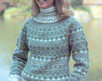 """Vintage Knitting Pattern Women's - Fair Isle Turtleneck Pullover Sweater - Sizes 31.5"""", 32.5"""", 34"""", 36"""", 38"""" - Instant Download"""