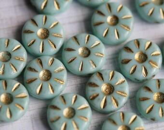 12mm Daisy Beads - Czech Glass Beads - Light Turquoise - Pinwheel Beads - Mint Green Beads - Bead Soup Beads