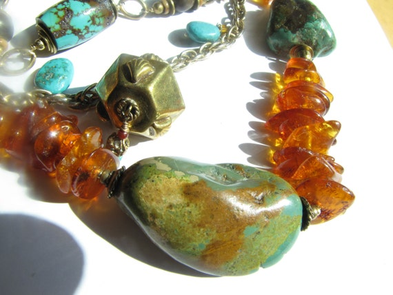 Beaded triple strand necklace, Vintage bead Necklace, Statement necklace Turquoise and Amber