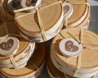Woodsy Rustic Wedding Favors Personalized Pair of Birch Coasters - 25 Pairs
