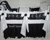 Boutique Black On White 3D roses/White and minky/Black Crepe/Satin Baby Crib Bedding and Accessories