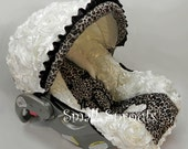 Custom 3D Rosette Ivory/Cheetah Minky Infant Car Seat Cover 5 Piece Set