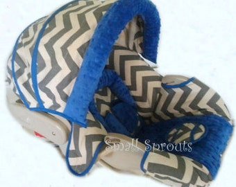 Josiah Grey & White Chevron with Royal Blue Minky Dot Infant Car Seat Cover 5 piece set