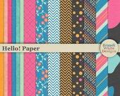 Digital Scrapbooking Background Papers - Set of 14 - Hello!