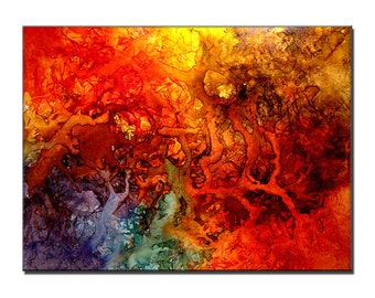 Huge Abstract painting Contemporary Modern Colorful Canvas Art by Henry Parsinia 48x36