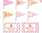 Pink Pumpkin Party - Personalized DIY printable straw flags and napkin rings