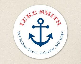 Anchor Address Labels / Nautical Address Labels - Sheet of 24