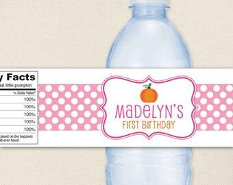 Pink Pumpkin Party - 100% waterproof personalized water bottle labels