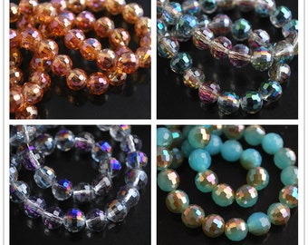 20pcs 8X8mm Round Facted Crystal Glass Charms Loose Spacer Beads Jewelry Making Crafts Findings --- 19 colors YZ007