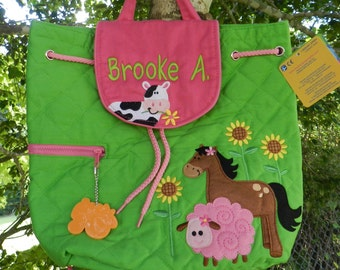 Personalized monogram girl farm Stephen Joseph quilted backpack/diaper bag/birthday gift/baby shower gift