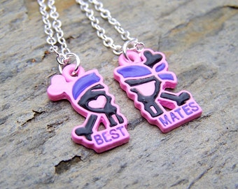Best Friends Necklace Silver Best Friends Jewelry Best Mates Pirate Jewerly
