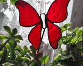 RED BUTTERFLY Stained Glass Plant Stake