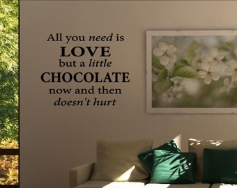 All you need is love, but a little chocolate now and then doesn't hurt. Vinyl Wall words quotes and sayings - #0756