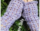 Lavender Lace Fingerless Mitten Crochet Pattern PDF - INSTANT DOWNLOAD