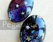 Purple Shooting Stars Glass Cabochon Gem (3 Piece)(18x25 cabs, 5 color option) Gem wedding favor,gift,fantasy costume,steampunk jewelry