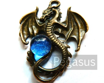 Sapphire Blue Orb Dragon Pendant (Bronze or Silver Dragon, 7 orb color) Medieval Dragon pendant for larp costumes,gifts,fantasy jewelry