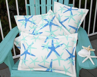 Outdoor pillow Twinkle, TWINKLE LITTLE STARFISH lumbar 15x20 (38x50cm) blue ships tomorrow choose your color finger star Crabby Chris