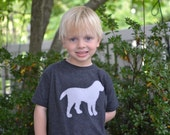 SALE Boys Labrador Dog Applique Shirt on Vintage Style Charcoal Grey Tee Sizes 2t-6t