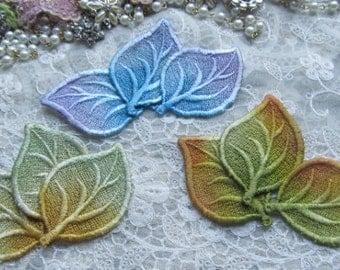 Lace Leaves Hand Dyed Venise Embellishment Crazy Quilt Applique Motif