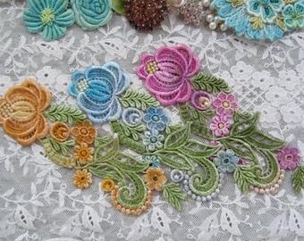 Crazy Quilt Flower Applique Hand Dyed Venise Lace Embellishment Wedding Bridal Motif