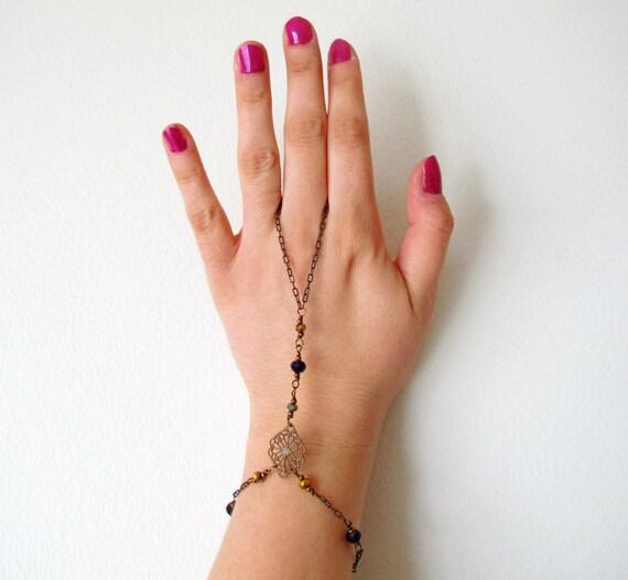 Boho Slave Bracelet - Purple and Gold Sparkly Beads - Copper Filigree - Spring Bracelet - Summer Bracelet