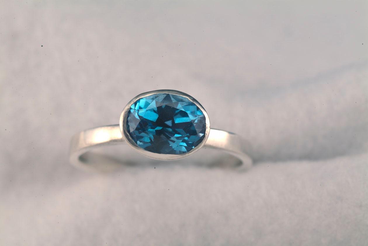 blue topaz stack ring birthstone ring unique