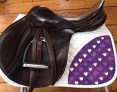 Hand painted saddle pad - heart themed