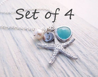 Beach Wedding Jewelry Set of 4 -- Starfish Necklace, Beach Necklace, Personalized Bridesmaid Gift,  Bridal Party Jewelry, Custom Color