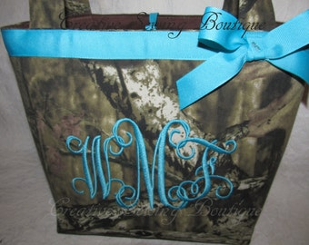 Mossy oak infinity camo camouflage purse - handbag - pocketbook - small tote you choose name or initials handmade custom to order