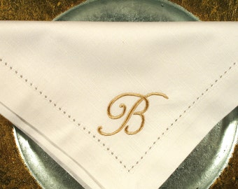 4 Monogrammed Cotton Napkins in the Bridesmaid  Font