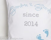 Grandma and Grandpa Announcement Pillow Cover White Turquoise and Grey Made in Canada