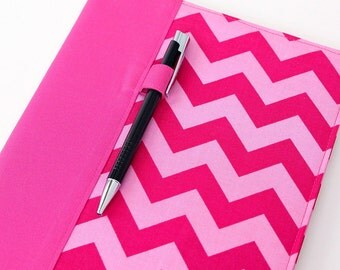 Reusable cover for composition notebooks, composition notebook cover, fabric notebook cover, teacher gift, includes pen - Pink Chevron